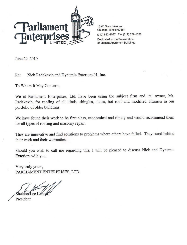 Roofing testimonials Parliament Enterprises, Ltd